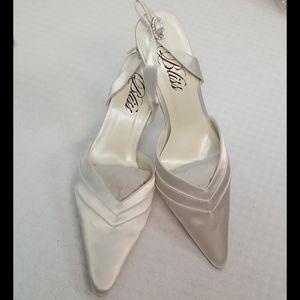 Bliss satin white formal slingback ponity heels #5